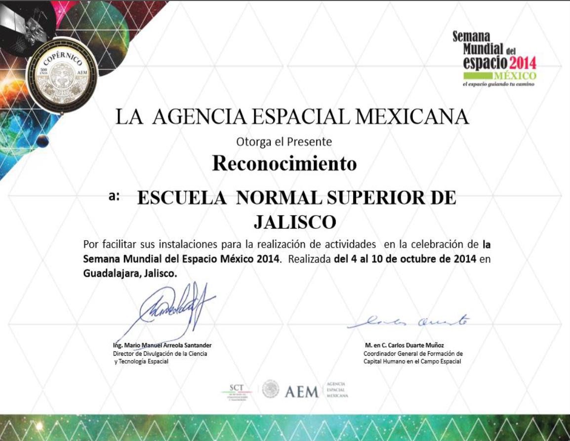 Semana Mundial del Espacio 2014 en la ENSJ – Escuela Normal Superior ...